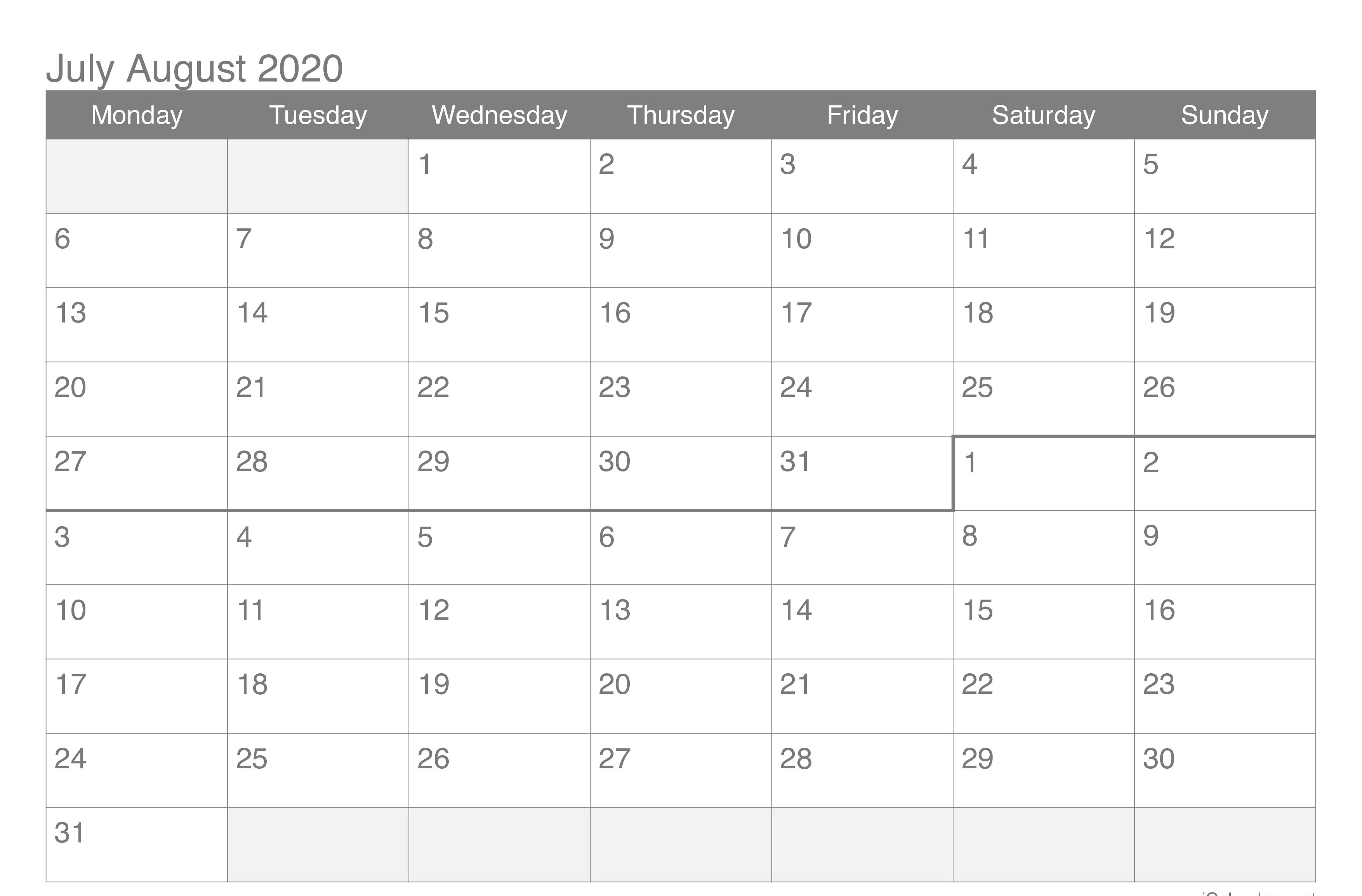 July August 2020 Printable Calendar