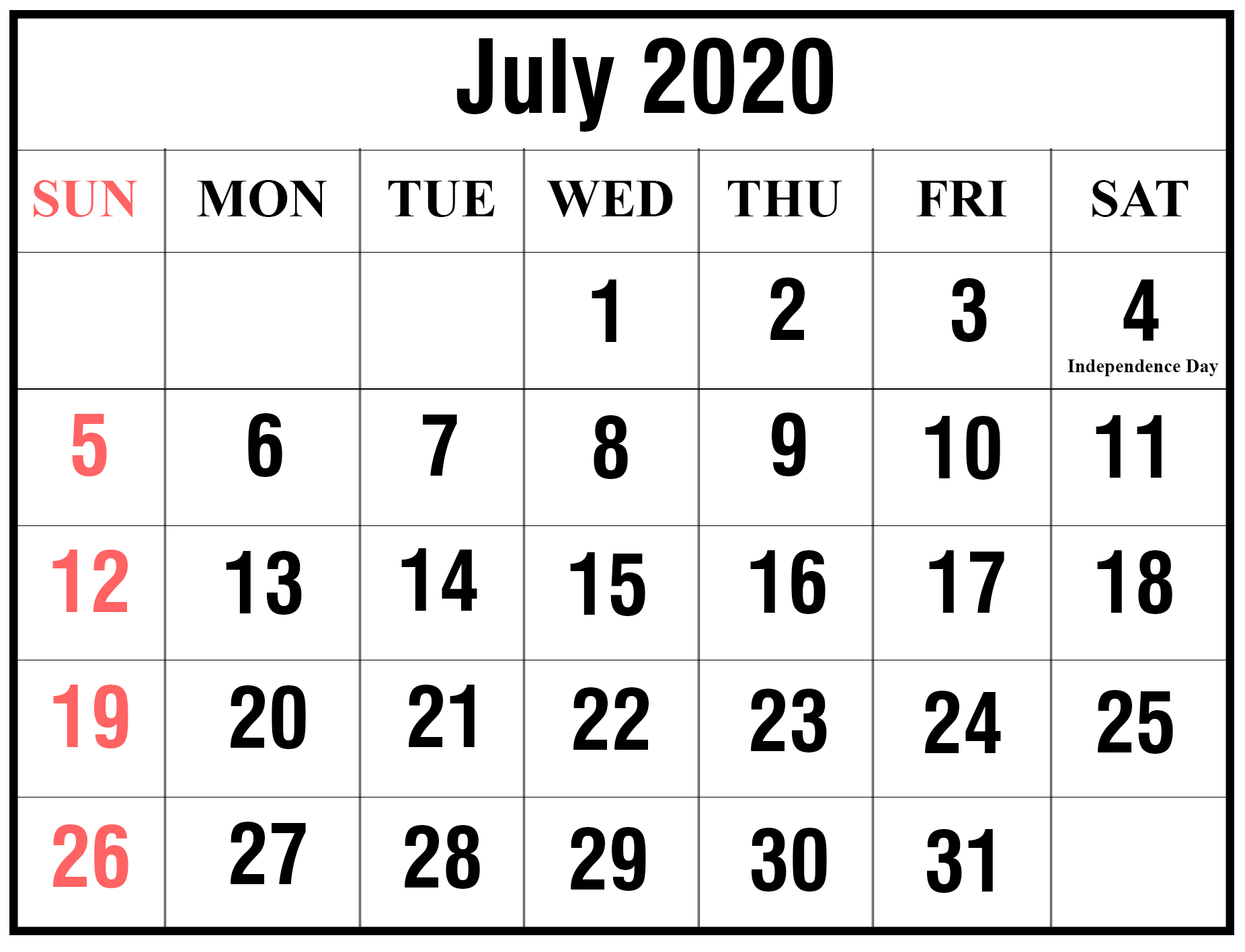 July Calendar 2020 Blank