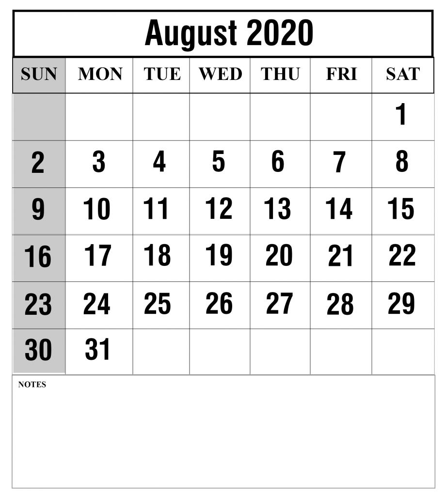 Print August 2020 Blank Calendar