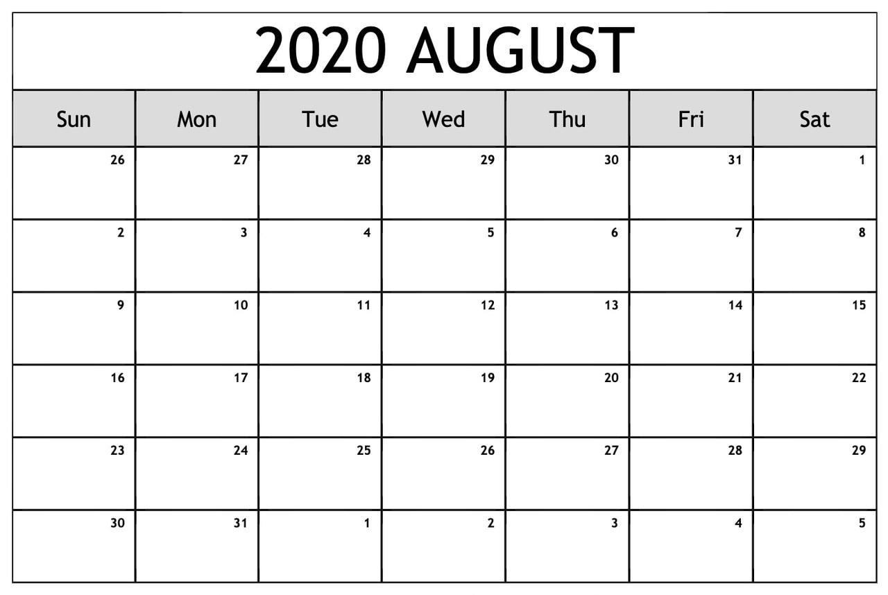 Printable August 2020 Blank Calendar