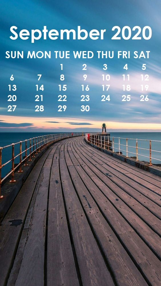 September 2020 iPhone Calendar Wallpaper