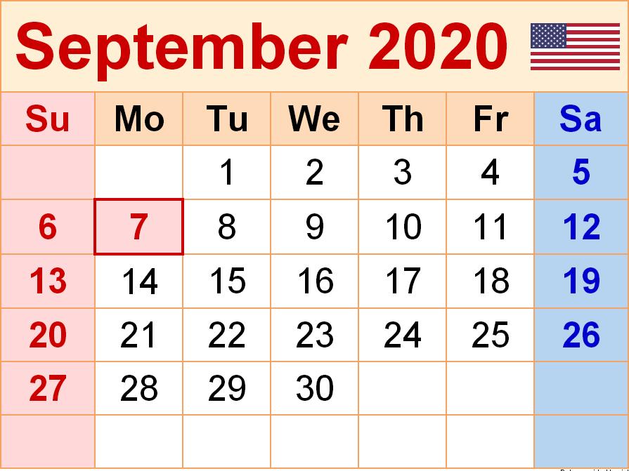 USA September 2020 Calendar