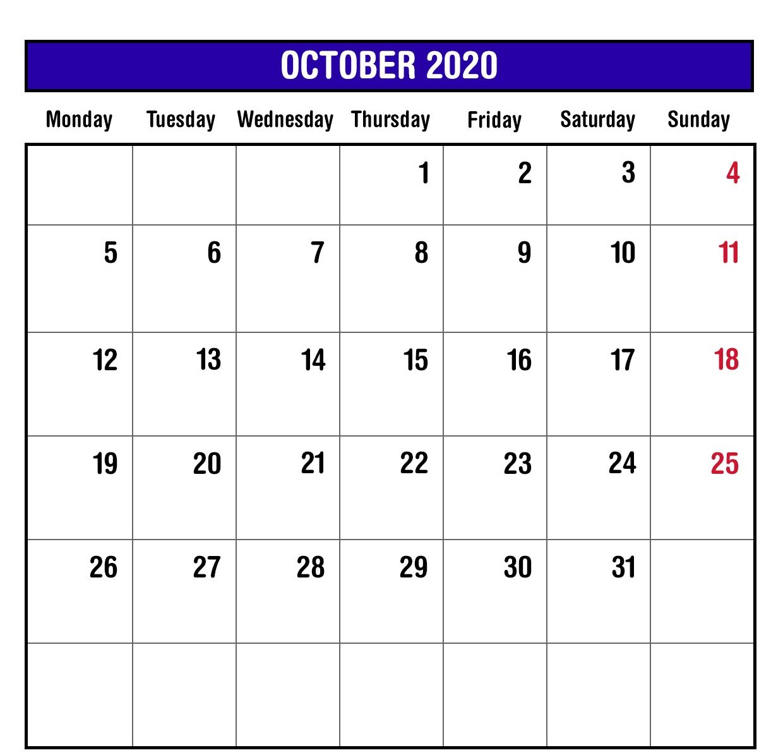 2020 October Monthly Calendar