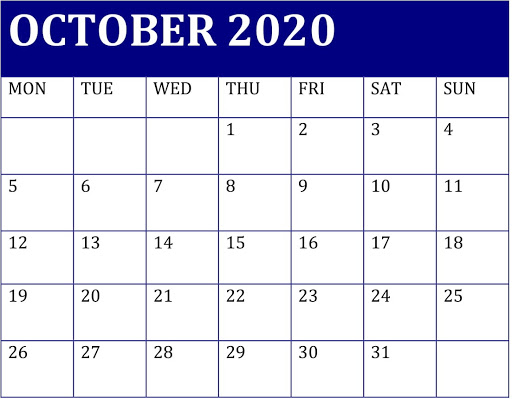 October 2020 Desk Calendar